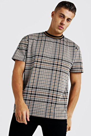 Mens Mustard Check Jacquard Step Hem T-Shirt With Rib Collar