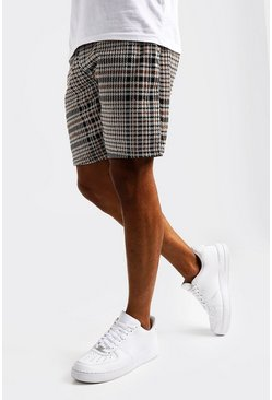 Short court en jersey à carreaux jacquard, Moutarde, Homme