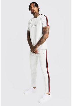 Herr White MAN Signature Pinstripe T-Shirt & Tape Jogger