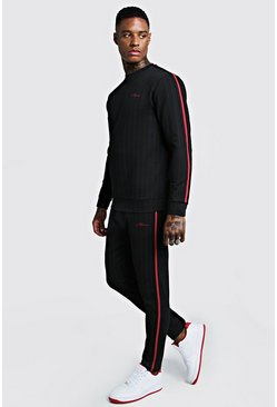 Mens Black MAN Signature Pinstripe Tape Sweater Tracksuit