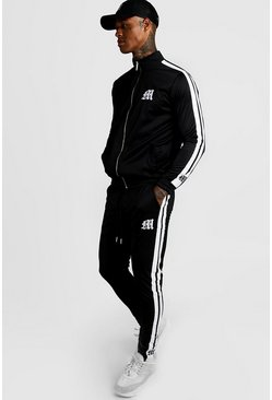 Mens Black Tricot Funnel Neck M Logo Tracksuit With Tape