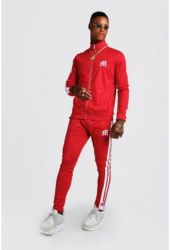 Mens Red Tricot Funnel Neck M Logo Tracksuit With Tape
