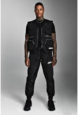 Mens Black Utility Vest & Jogger Set With Rubber MAN Badge