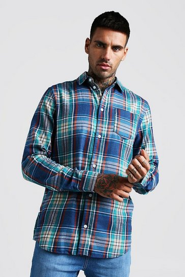 Mens Blue Brushed Flannel Check Long Sleeve Shirt