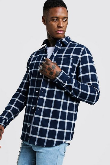 Mens Navy Brushed Flannel Check Shirt