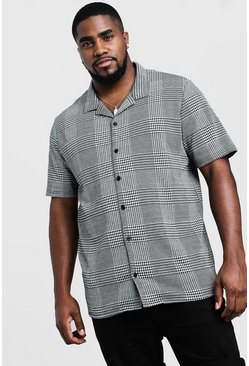 Big & Tall camicia in jacquard con colletto con risvolti, Nero, Maschio