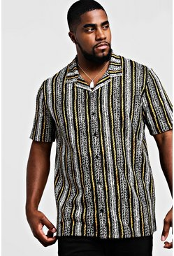 Mens Black Big & Tall Revere Collared Stripe Shirt