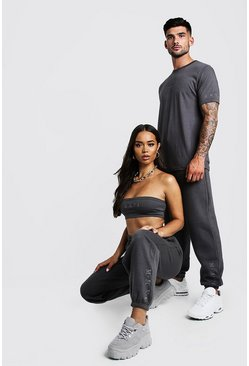 Dam Charcoal Hers Bandeau Crop Top & Jogger Set