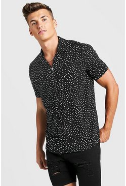 Mens Black Polka Dot Short Sleeve Revere Shirt