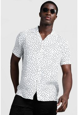 Mens White Polka Dot Short Sleeve Revere Shirt