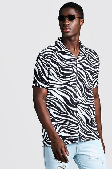 White Animal Print Short Sleeve Revere Shirt