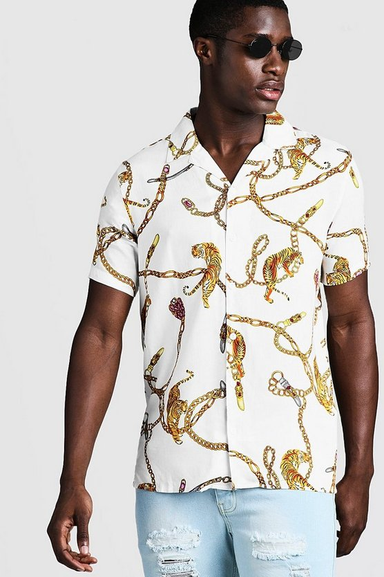 White Chain Animal Print Short Sleeve Revere Shirt