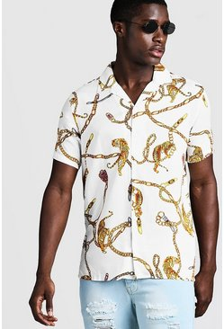 Mens White Chain Animal Print Short Sleeve Revere Shirt