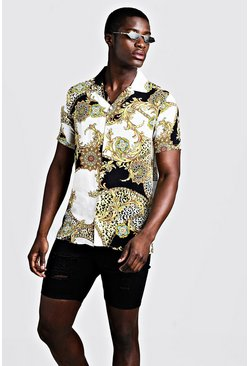 Mens White Baroque Print Short Sleeve Revere Shirt
