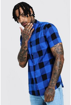 Herr Cobalt Check Print Short Sleeve Lightweight Shirt
