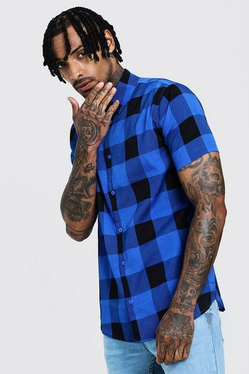 Mens Cobalt Check Print Short Sleeve Lightweight Shirt