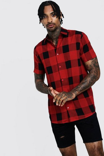 Mens Red Check Print Short Sleeve Lightweight Shirt
