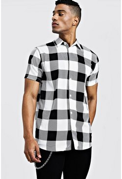 Mens White Check Print Short Sleeve Lightweight Shirt