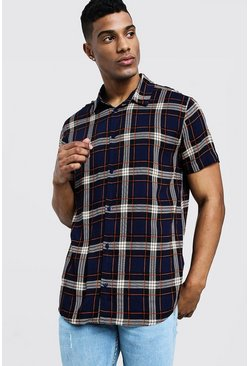 Mens Navy Check Print Short Sleeve Lightweight Shirt