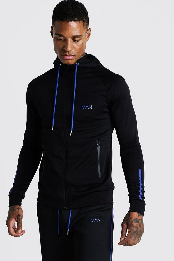 Cobalt MAN Active Muscle Fit Zip Through Panelled Hoodie
