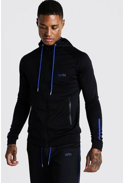 Mens Cobalt MAN Active Muscle Fit Zip Through Panelled Hoodie