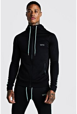 Aqua MAN Active Muscle Fit Zip Through Panelled Hoodie