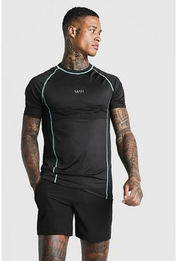 Aqua MAN Active Muscle Fit Tee With Mesh Detailing