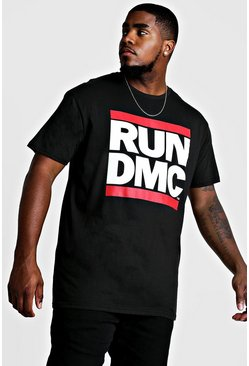 Black Big & Tall - T-shirt med RUN DMC-tryck