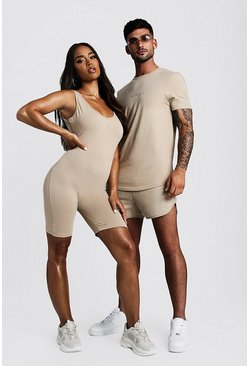 Dam Taupe Hers Scoop Neck Unitard