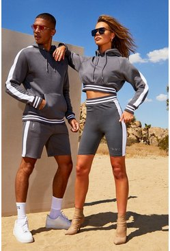Womens Charcoal Hers Crop Hoodie & Contrast Rib Cycling Short