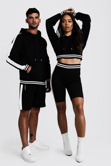 Womens Black Hers Crop Hoodie & Contrast Rib Cycling Short