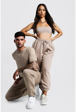 Herr Taupe His Washed T-Shirt & Jogger Set