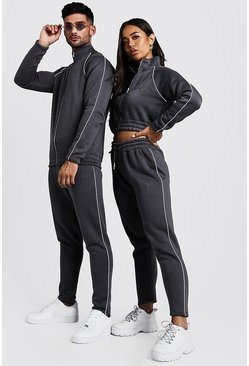 Mens Charcoal His Funnel Neck Tracksuit With Contrast Panels