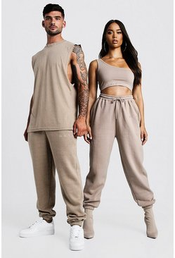 Herr Taupe His Washed Drop Armhole Tank & Jogger Set