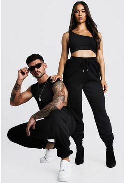 Herr Black His Washed Drop Armhole Tank & Jogger Set