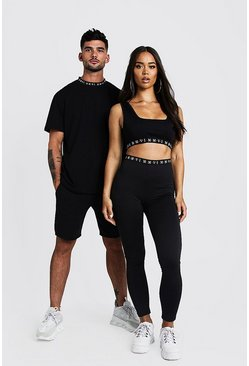 Mens Black His Loose Fit Embroidered Neck T-Shirt & Short Set