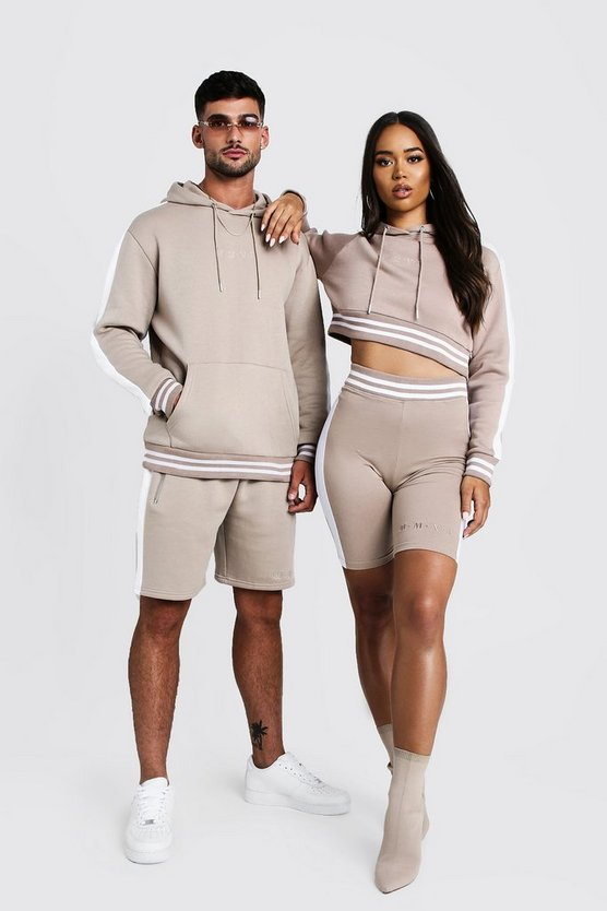 Mens Taupe His Panelled Contrast Rib Hooded Short Tracksuit