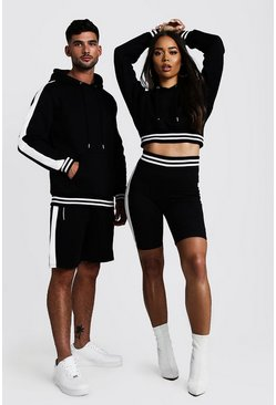 Black His Panelled Contrast Rib Hooded Short Tracksuit