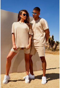 Womens Taupe Hers Side Tape Detail T-Shirt & Cycling Short Set