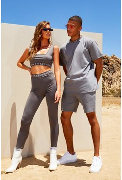 Charcoal Hers Scoop Neck Crop Top & Legging Set