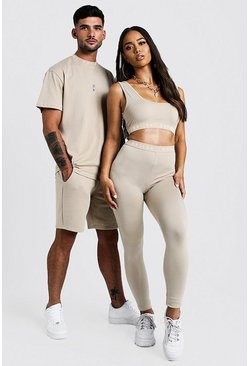 Womens Taupe Hers Scoop Neck Crop Top & Legging Set