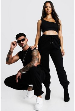 Black Hers One Shoulder Crop Top & Jogger Set
