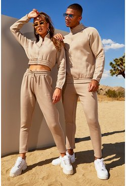 Womens Taupe Hers Funnel Neck Tracksuit With Contrast Piping