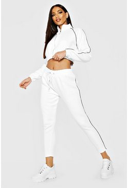 White Hers Funnel Neck Tracksuit With Contrast Piping