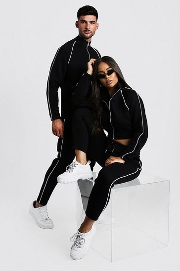ed9f59e713 Hers Funnel Neck Tracksuit With Contrast Piping