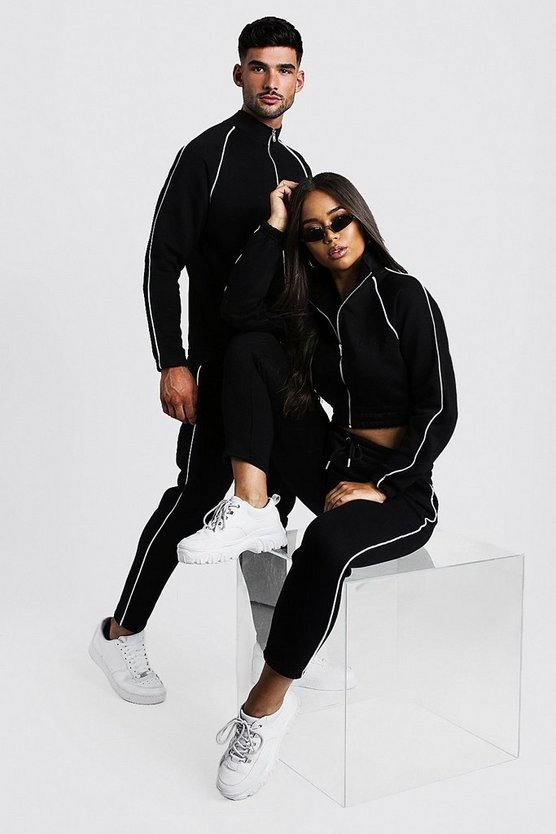 Womens Black Hers Funnel Neck Tracksuit With Contrast Piping