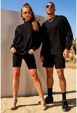 Womens Black Hers Washed Sweatshirt & Cycling Short Set