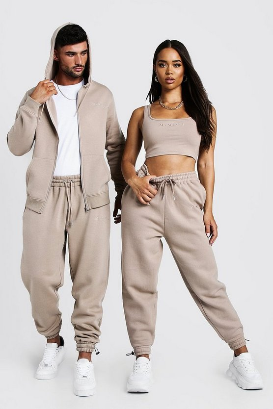 Hers Square Neck Crop Top & Jogger Set Hers Square Neck Crop Top & Jogger Set by Boohoo