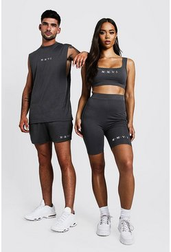 Womens Charcoal Hers Square Neck Crop Top & Cycling Short Set
