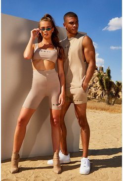 Dam Taupe Hers Square Neck Crop Top & Cycling Short Set